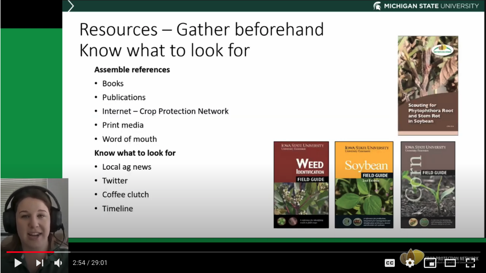 Mikaela Breunig sharing crop scouting resources.